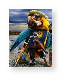 parrot-peg-leg-on-crutch-pirate theme-small-edged