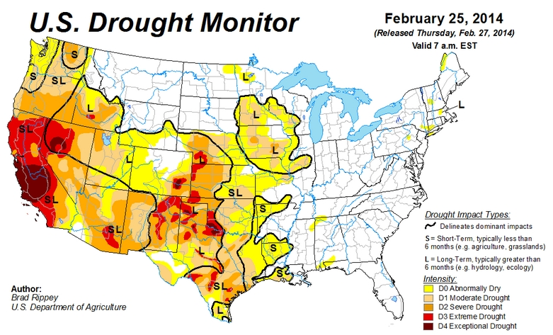 Drought Map USA for 2/25/14 | Hans Howe