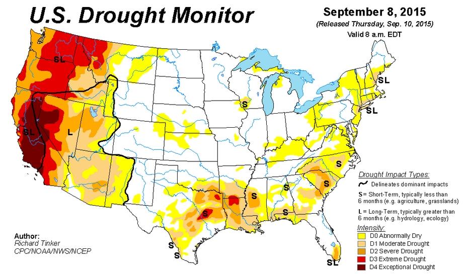 Drought Map for September 8th 2015 | Hans Howe