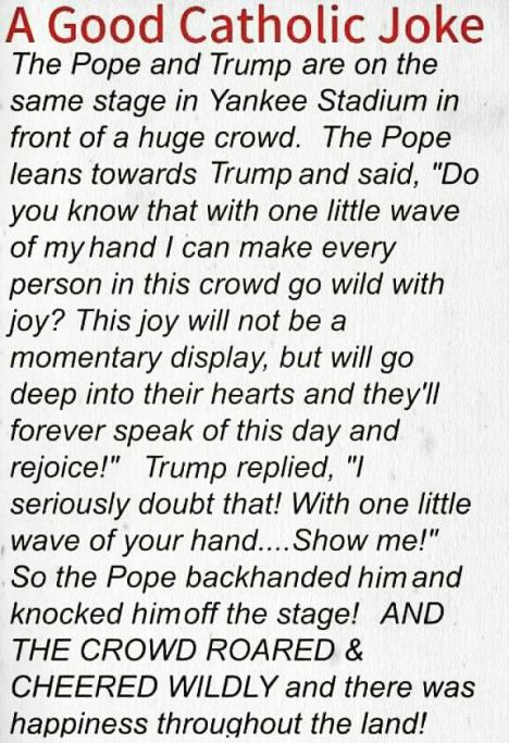 pope said to trump