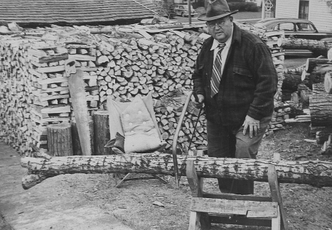 Harry Howe Making Firewood 1943 at 1413 Bush - Fuel Oil n Coal Were Rationed 01