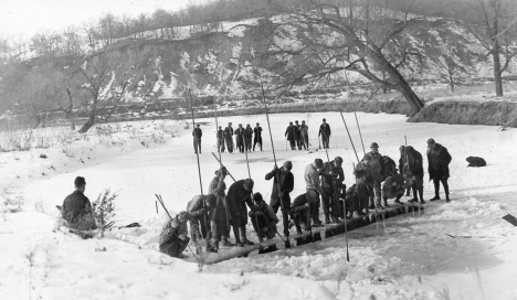 Ice Spearing Fish Back Channel Mississippi at Red Wing c 1925 Fish Drivers in Background 588