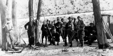 Ice Spearing Fish Back Channel Mississippi at Red Wing c 1925 Wisconsin Game Warden on L c 1925 589